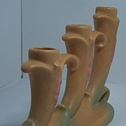 SALE Weller Pottery Triple Candleholder