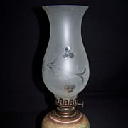 SALE Petite size early Hand Painted Oil Lamp