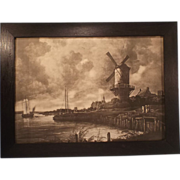 SALE Vintage Sepia Print--The Mill at Wijk-bij-Duurstede-- from the original by Jacob Isaacksz