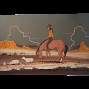 SALE Native American Navajo Watercolor Indian Dream Painting - Lone Navajo Shepard