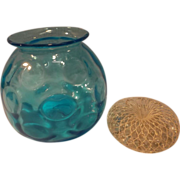Blue Glass Coin Dot Rose Bowl with Crystal Bead Flower Frog