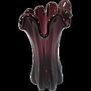 SALE Purple Amethyst Ruffled Edge Vase