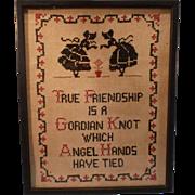SALE Vintage Gordian Knot Sampler; Framed under glass