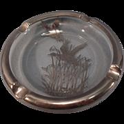 SALE Vintage Glass Ashtray--Heavy Silver Overlay--Flying Ducks