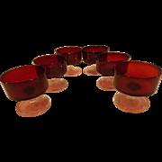 SALE PENDING Vintage Set of 6 Luminac Arcoroc Ruby Glass Dessert/sherbert Compotes
