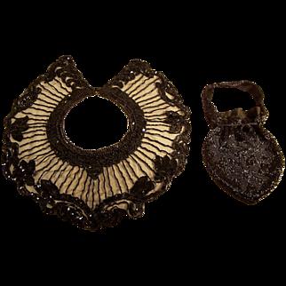 SALE Black Jett Beaded Evening Collar and Beaded Purse