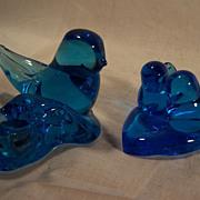 SALE PENDING Cobalt Blue Art Glass Bluebird Candle Set