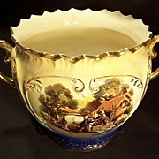Flow Blue Jardiniere with Gold accents and Floral & English Farm scenes
