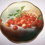 Royal Munich Plate--overflowing basket of red cherries--Germany