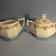 Bavarian Sugar Bowl and Creamer--Gold Gilt accents--Handpainted