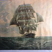 SALE Vintage Framed Print-Clipper Ship-by G.G. Reynaud