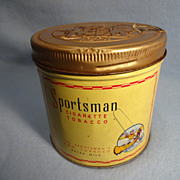 SALE Sportsman Tin Cigarette tobacco round can, screw  on lid