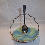 Vintage Royal Winton Gold Rimmed Condiment Dish with Holder & Spoon