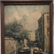 SALE Vintage Print of a Venice Canal by Artist, Nickolas Briganti.
