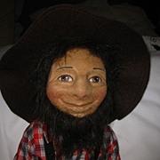 "Vintage R John Wright Felt Doll ""Seth"""