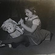 Wonderful Vintage  Photograph of Little Girl with Sister Belle Doll