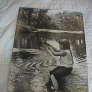 Wonderful Vintage  Photograph  of Girl Fishing