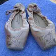 Autographed Pink Ballet Slippers of Merrill Ashley Principal Dancer of New York Ballet Under the direction of George Balanchine