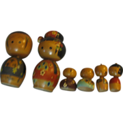 Family of Wooden Kokeshia Dolls