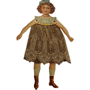 SOLD Vintage Paper doll  With Crepe Paper and Lace