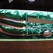 Massive 3 Piece Elk Antler Handled BBQ Carving Set