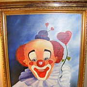 SALE Clown Portrait dated 1983 Oil on Canvas (1 of 3)
