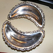 REDUCED Antique Adelphia Silver Co. Bone Dishes - pair