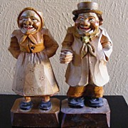 SALE Hand Wood Carved Folk Art Old Man and Woman