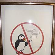 "SALE Hand Printed no smoking sign ""NO PUFFIN"""