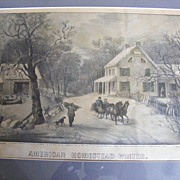 "SALE Antique 1868 Currier & Ives Hand Colored Lithograph ""American Homestead Winter"""