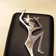 SALE Vintage Dancing Woman Sterling Pin