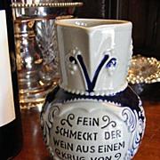 German Stoneware Small .25 Liter Wine Carafe