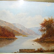 Superb 19th Century Oil - Lake Scene with Trees