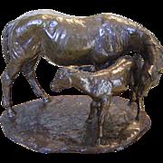 "Jim Reno ""Mother and Foal"" Bronze Sculpture"