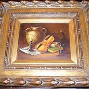 Original Frank Lean Oil Painting Violin