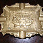 SOLD Vintage 1920's solid brass ashtray from Mexico