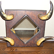 Antique Western Horn and Wood Mirror