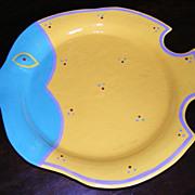 Vintage 1986 Colorful Cyclamen Porcelain Fish Platter