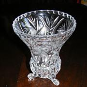 Crystal 3 footed vase