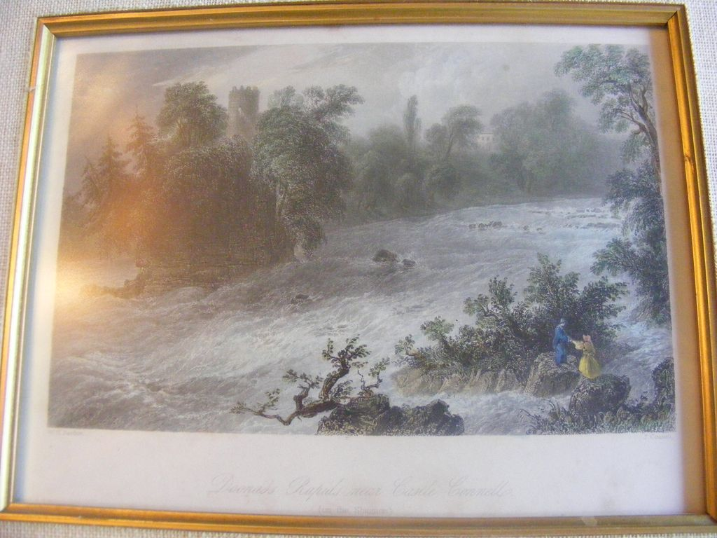 Hand Colored Engraving Dunass Rapids near Castleconnell Ireland 1898