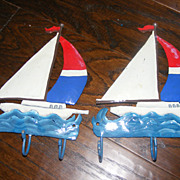 Set of 2 Hand made and painted Sailboat Towel Hangers