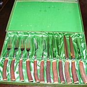 Antler Handle Fork and Steak Knife Flatware Set for 6