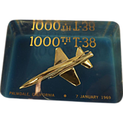 1000th T-38 Fighter Jet Lucite Paperweight 1969