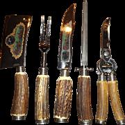 Vintage 5 piece antler handle carving set