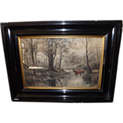 Antique Hand Colored Print - Deer in the Forest