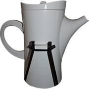 Mid Century Ceramic and Wrought Iron Dinner Party Coffee Pot