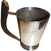 "Antique ""Big Tom"" Antler Handle Silver Plated Drinking Mug by Pinder Brothers"