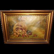 SALE Antique Folk Art Oil Painting - Bushel of Apples