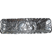 Heavy Cast Pewter Serving Dish with Bunny Rabbits