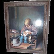 "Original Szloboda Oil Painting ""The Flea Picker"""